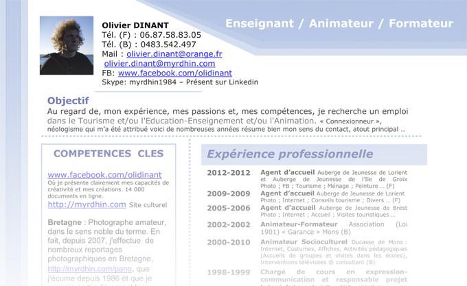 Curriculum de Olivier Dinant (Dinan)